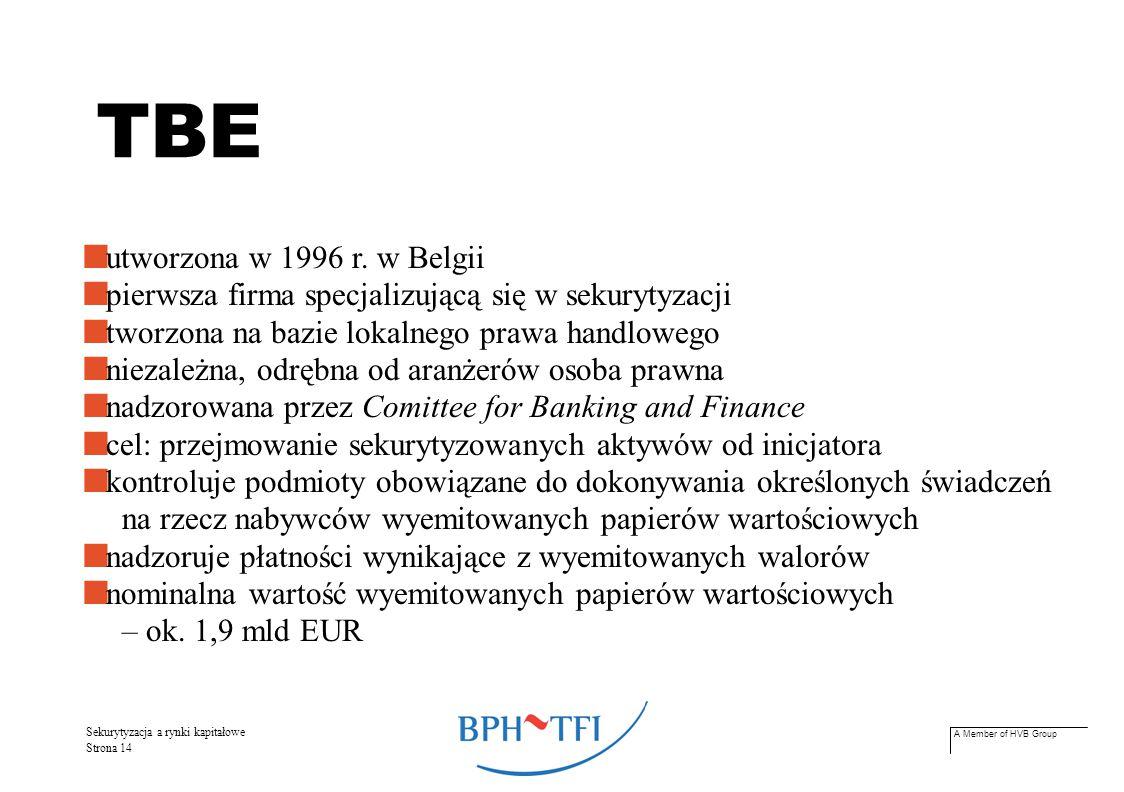 A Member of HVB Group Sekurytyzacja a rynki kapitałowe Strona 14 utworzona w 1996 r. w Belgii pierwsza firma specjalizującą się w sekurytyzacji tworzo