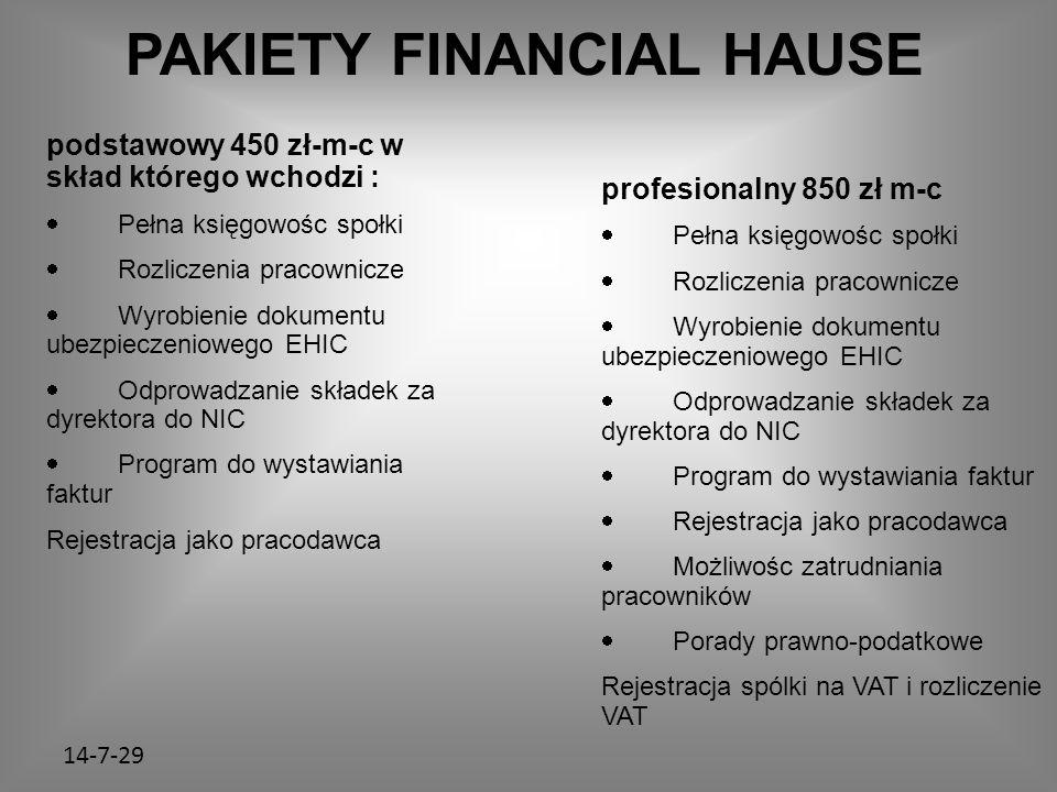 14-7-29 PAKIETY FINANCIAL HAUSE podstawowy 450 zł-m-c w skład którego wchodzi :  Pełna księgowośc społki  Rozliczenia pracownicze  Wyrobienie dokumentu ubezpieczeniowego EHIC  Odprowadzanie składek za dyrektora do NIC  Program do wystawiania faktur Rejestracja jako pracodawca profesionalny 850 zł m-c  Pełna księgowośc społki  Rozliczenia pracownicze  Wyrobienie dokumentu ubezpieczeniowego EHIC  Odprowadzanie składek za dyrektora do NIC  Program do wystawiania faktur  Rejestracja jako pracodawca  Możliwośc zatrudniania pracowników  Porady prawno-podatkowe Rejestracja spólki na VAT i rozliczenie VAT