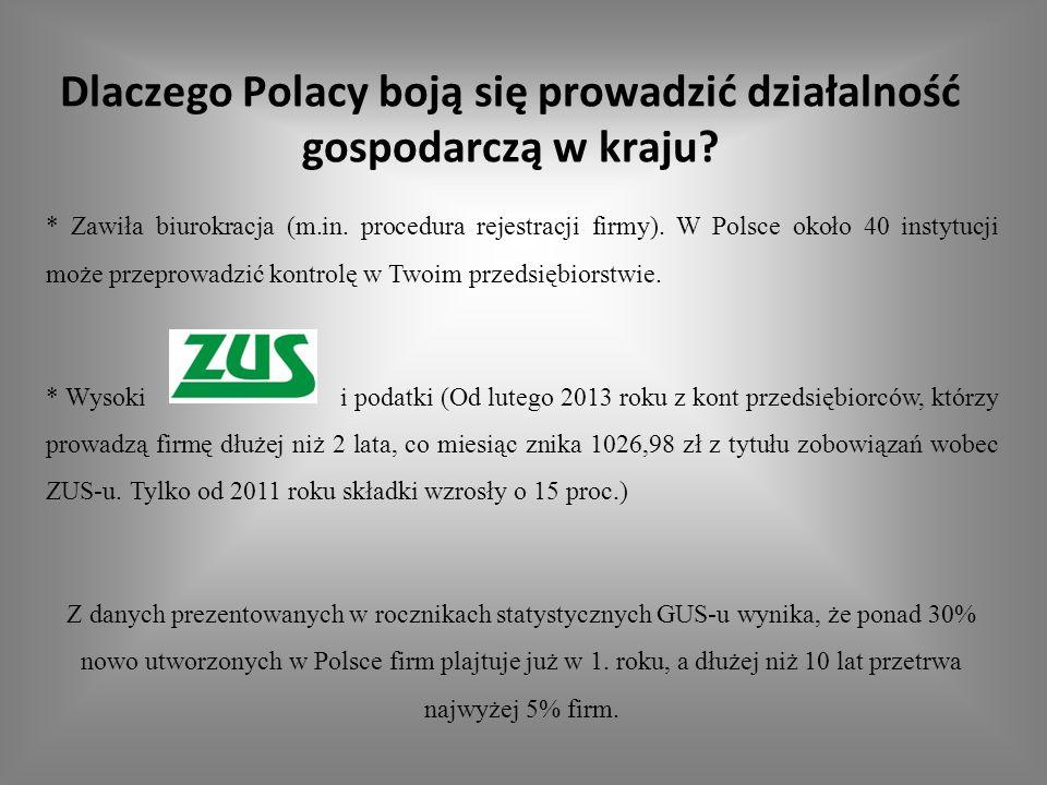 Dlaczego Polacy boją się prowadzić działalność gospodarczą w kraju? * Zawiła biurokracja (m.in. procedura rejestracji firmy). W Polsce około 40 instyt