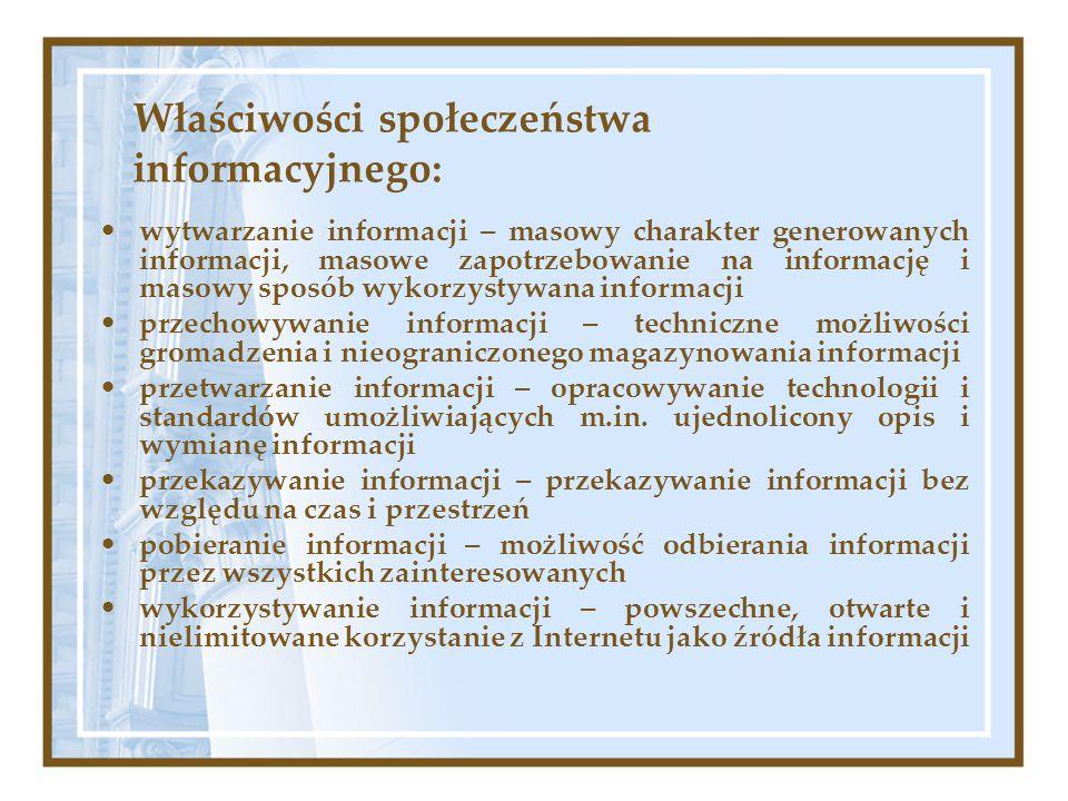 Właściwości społeczeństwa informacyjnego: wytwarzanie informacji – masowy charakter generowanych informacji, masowe zapotrzebowanie na informację i ma