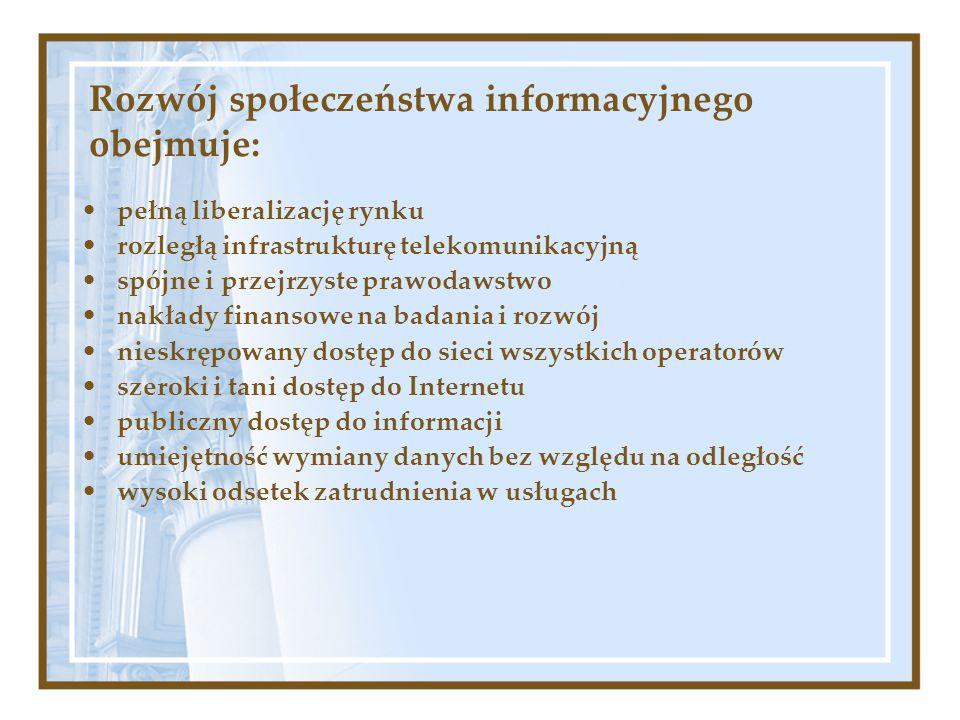 Rozwój społeczeństwa informacyjnego obejmuje: pełną liberalizację rynku rozległą infrastrukturę telekomunikacyjną spójne i przejrzyste prawodawstwo na