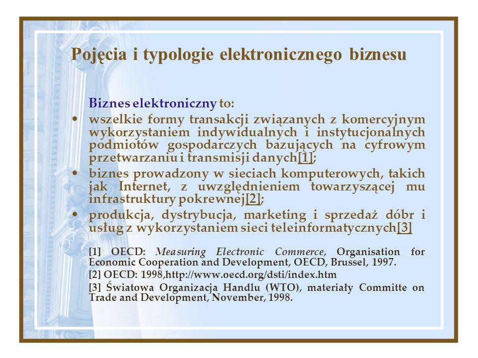 Pojęcia i typologie elektronicznego biznesu Biznes elektroniczny to: wszelkie formy transakcji związanych z komercyjnym wykorzystaniem indywidualnych