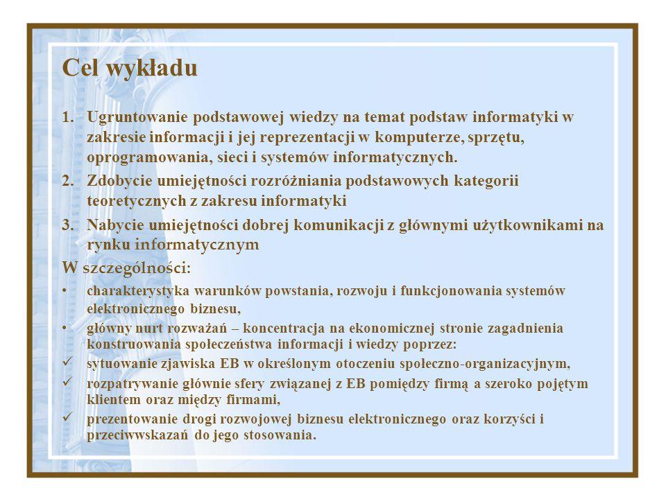 Cel wykładu 1.Ugruntowanie podstawowej wiedzy na temat podstaw informatyki w zakresie informacji i jej reprezentacji w komputerze, sprzętu, oprogramow