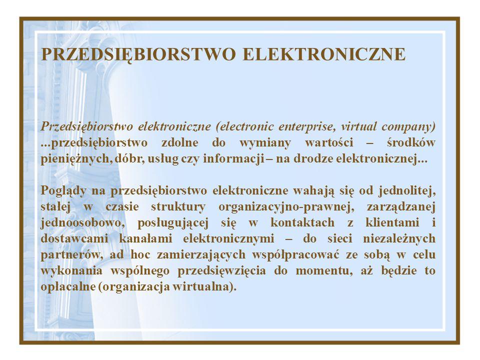 PRZEDSIĘBIORSTWO ELEKTRONICZNE Przedsiębiorstwo elektroniczne (electronic enterprise, virtual company)...przedsiębiorstwo zdolne do wymiany wartości –