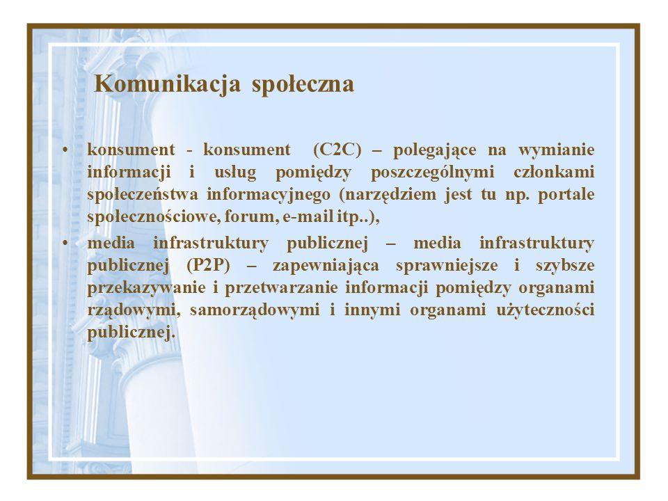 Komunikacja społeczna konsument - konsument (C2C) – polegające na wymianie informacji i usług pomiędzy poszczególnymi członkami społeczeństwa informac