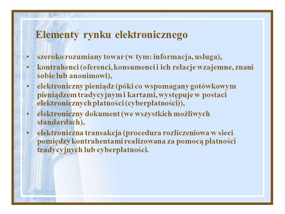 Elementy rynku elektronicznego szeroko rozumiany towar (w tym: informacja, usługa), kontrahenci (oferenci, konsumenci i ich relacje wzajemne, znani so
