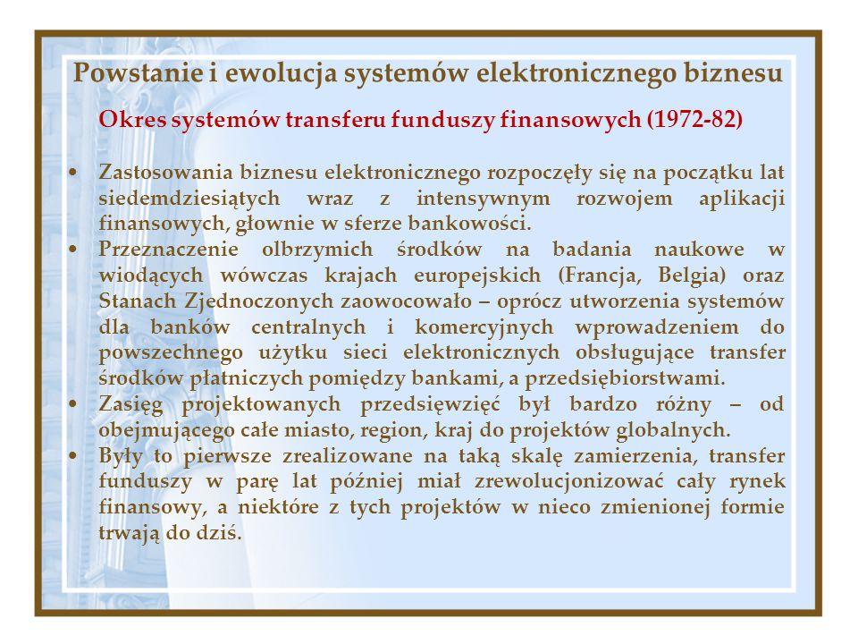 Powstanie i ewolucja systemów elektronicznego biznesu Okres systemów transferu funduszy finansowych (1972-82) Zastosowania biznesu elektronicznego roz