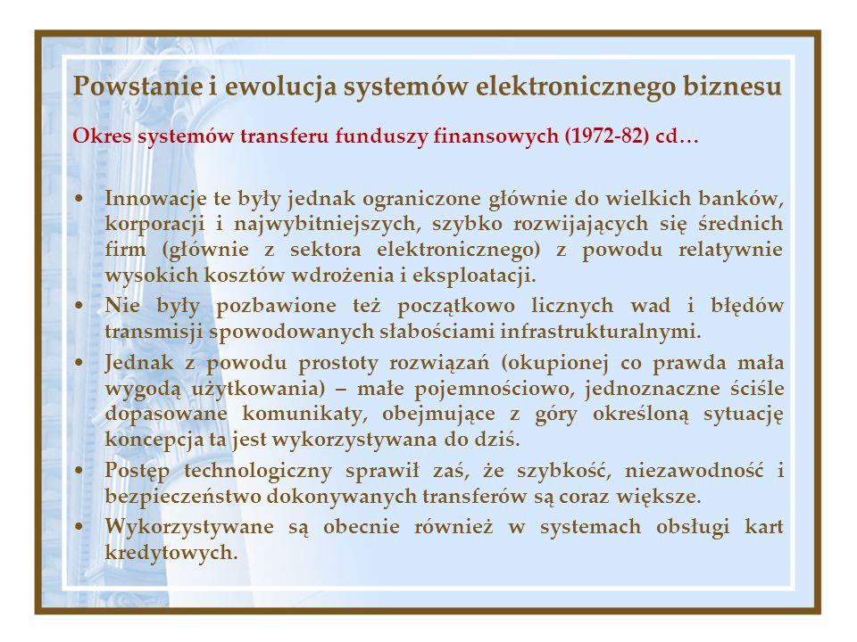 Powstanie i ewolucja systemów elektronicznego biznesu Okres systemów transferu funduszy finansowych (1972-82) cd… Innowacje te były jednak ograniczone