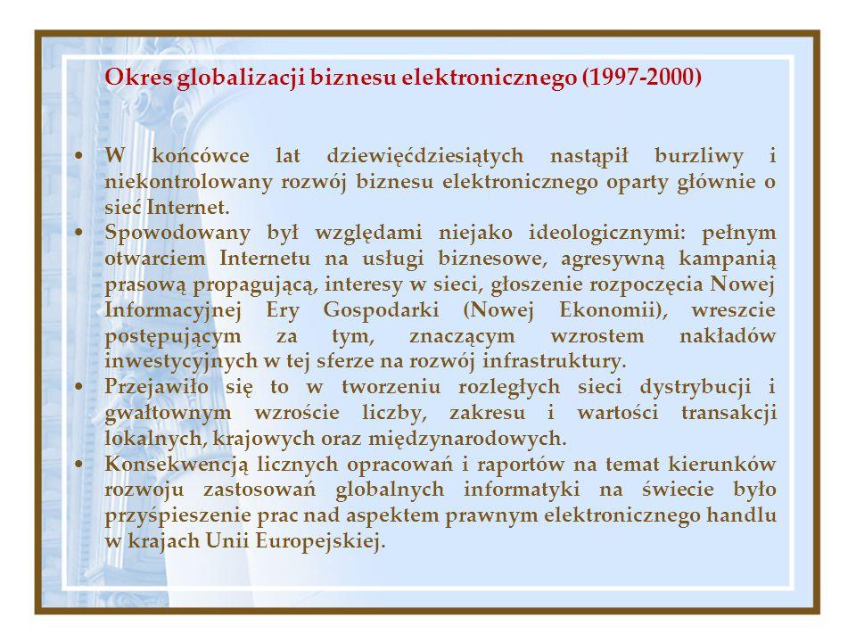 Okres globalizacji biznesu elektronicznego (1997-2000) W końcówce lat dziewięćdziesiątych nastąpił burzliwy i niekontrolowany rozwój biznesu elektroni