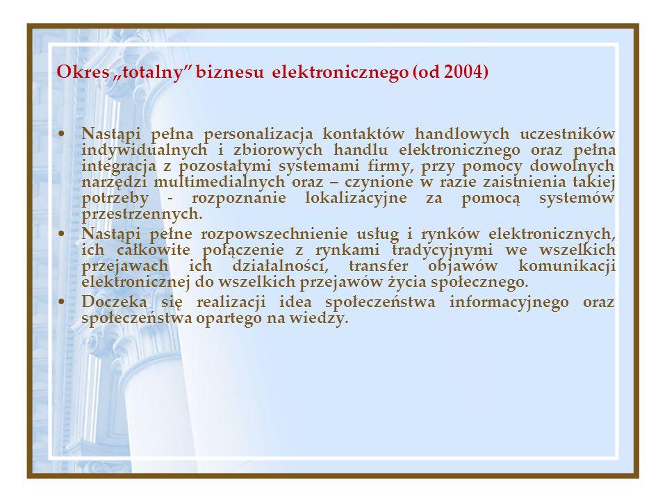 """Okres """"totalny"""" biznesu elektronicznego (od 2004) Nastąpi pełna personalizacja kontaktów handlowych uczestników indywidualnych i zbiorowych handlu ele"""