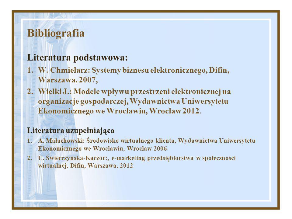 Bibliografia Literatura podstawowa: 1.W. Chmielarz: Systemy biznesu elektronicznego, Difin, Warszawa, 2007, 2.Wielki J.: Modele wpływu przestrzeni ele