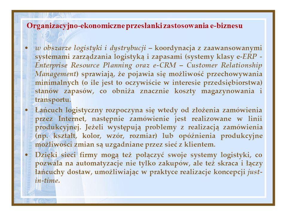 w obszarze logistyki i dystrybucji – koordynacja z zaawansowanymi systemami zarządzania logistyką i zapasami (systemy klasy e-ERP - Enterprise Resourc