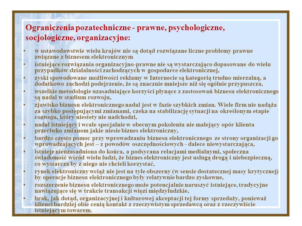 Ograniczenia pozatechniczne - prawne, psychologiczne, socjologiczne, organizacyjne: w ustawodawstwie wielu krajów nie są dotąd rozwiązane liczne probl