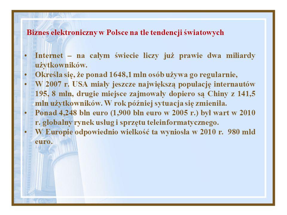 Biznes elektroniczny w Polsce na tle tendencji światowych Internet – na całym świecie liczy już prawie dwa miliardy użytkowników. Określa się, że pona
