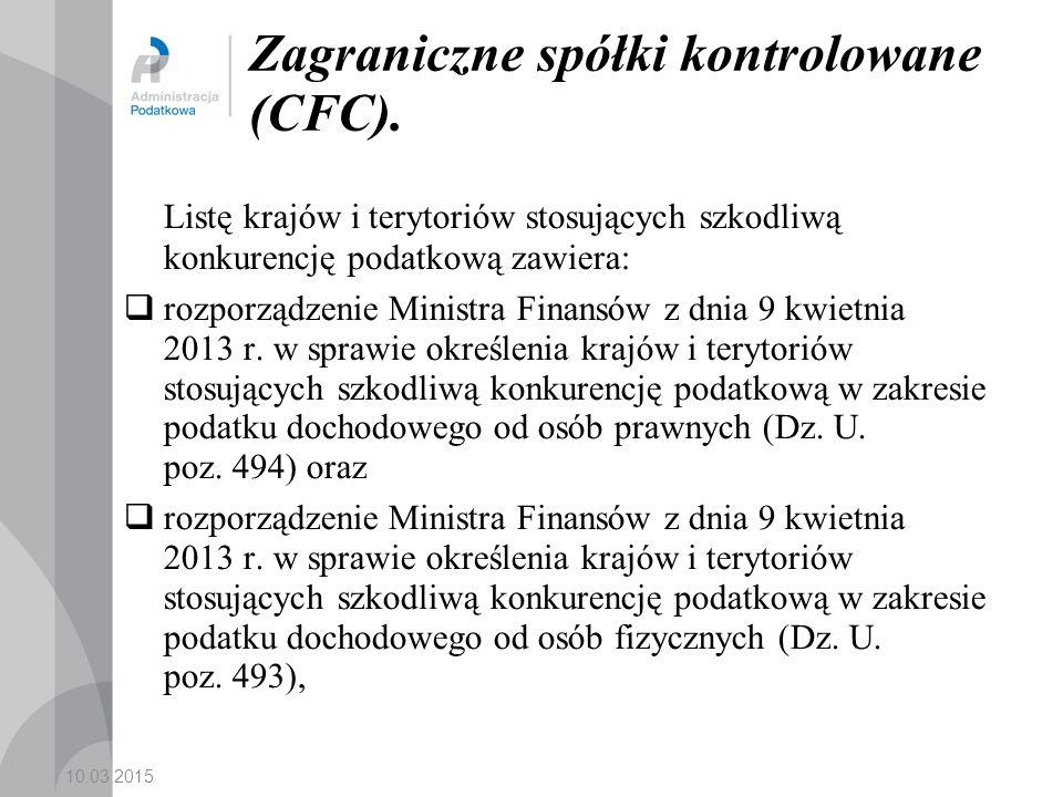 10.03.2015 Zagraniczne spółki kontrolowane (CFC).