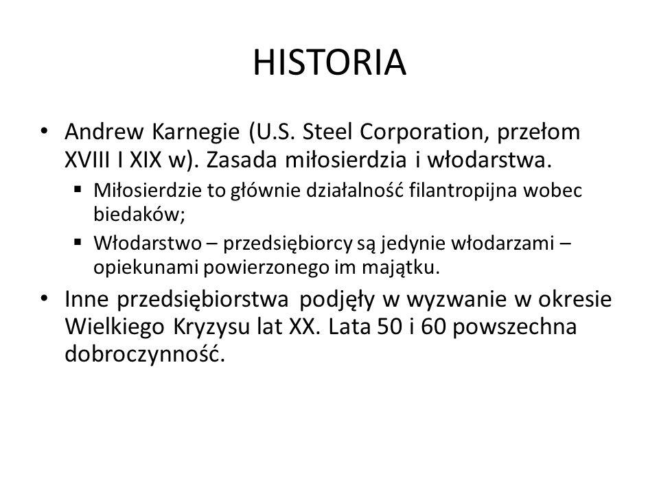 HISTORIA Andrew Karnegie (U.S. Steel Corporation, przełom XVIII I XIX w). Zasada miłosierdzia i włodarstwa.  Miłosierdzie to głównie działalność fila