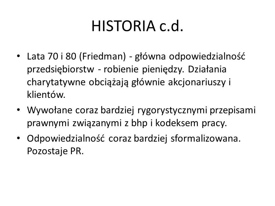 HISTORIA c.d. Lata 70 i 80 (Friedman) - główna odpowiedzialność przedsiębiorstw - robienie pieniędzy. Działania charytatywne obciążają głównie akcjona
