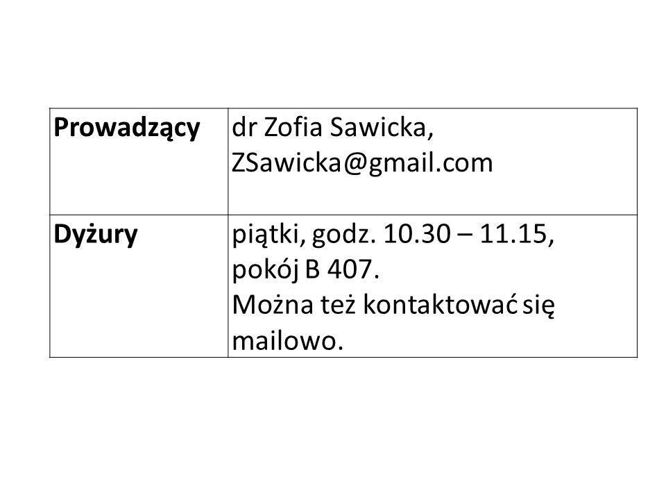 Prowadzącydr Zofia Sawicka, ZSawicka@gmail.com Dyżurypiątki, godz. 10.30 – 11.15, pokój B 407. Można też kontaktować się mailowo.