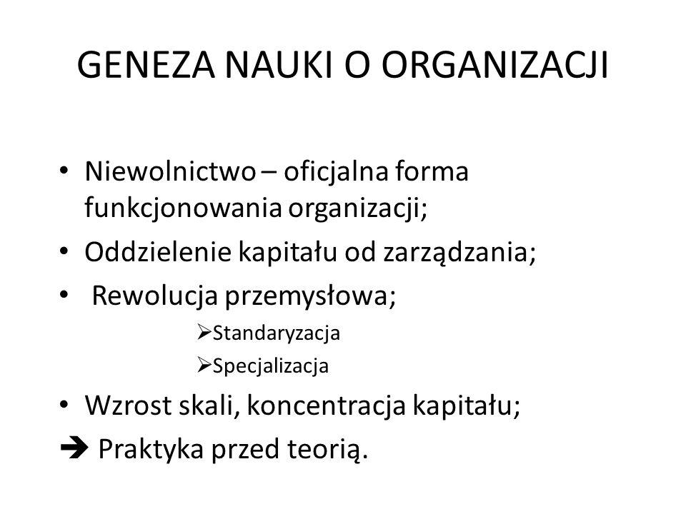 GENEZA NAUKI O ORGANIZACJI Niewolnictwo – oficjalna forma funkcjonowania organizacji; Oddzielenie kapitału od zarządzania; Rewolucja przemysłowa;  St