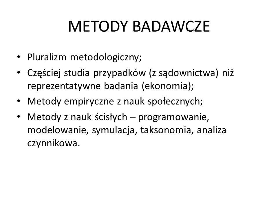 METODY BADAWCZE Pluralizm metodologiczny; Częściej studia przypadków (z sądownictwa) niż reprezentatywne badania (ekonomia); Metody empiryczne z nauk