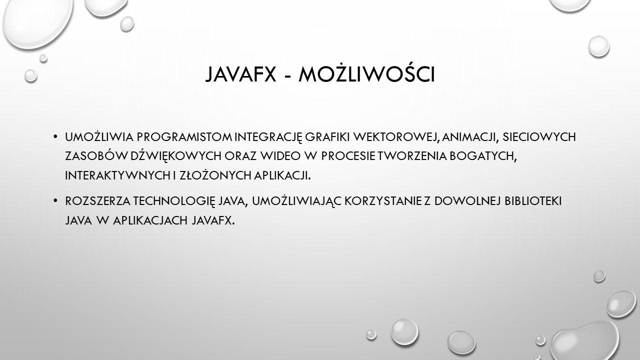JAVAFX 2.1 JAVAFX 2.1 ZOSTAŁA WYDANA 27 KWIETNIA 2012 PIERWSZA OFICJALNA WERSJA DLA MAC OS X