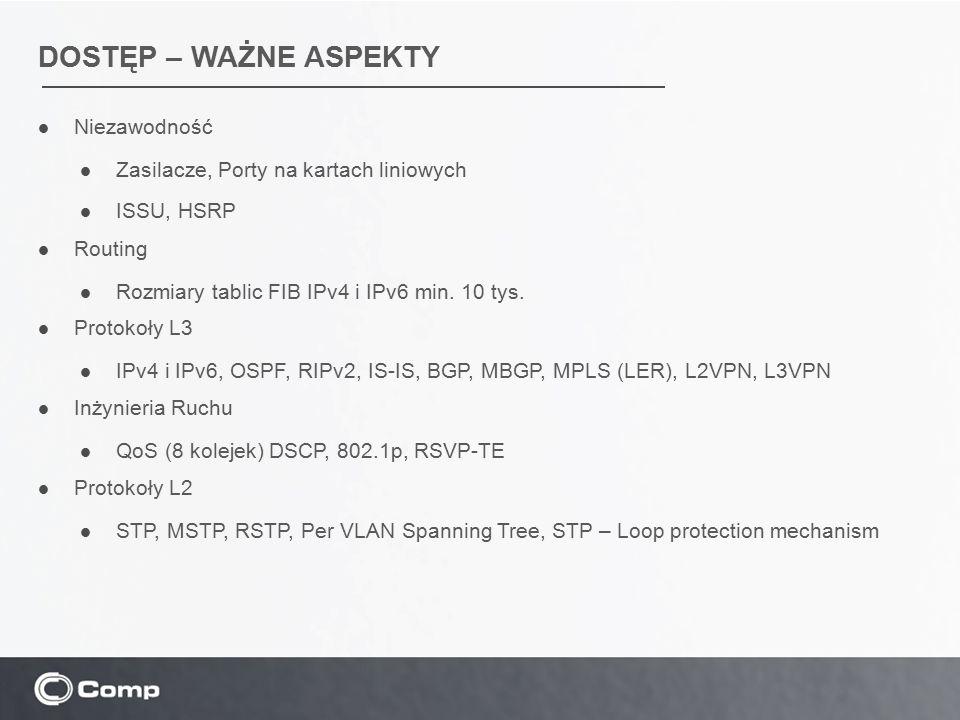DOSTĘP – WAŻNE ASPEKTY Niezawodność Zasilacze, Porty na kartach liniowych ISSU, HSRP Routing Rozmiary tablic FIB IPv4 i IPv6 min. 10 tys. Protokoły L3