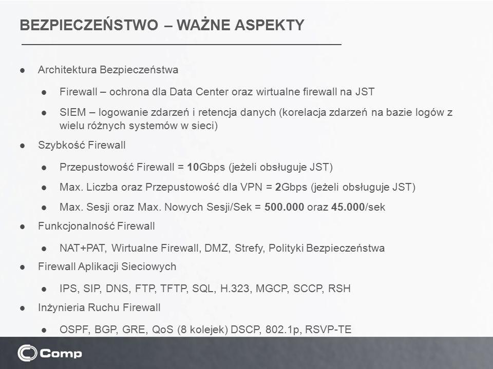 BEZPIECZEŃSTWO – WAŻNE ASPEKTY Architektura Bezpieczeństwa Firewall – ochrona dla Data Center oraz wirtualne firewall na JST SIEM – logowanie zdarzeń
