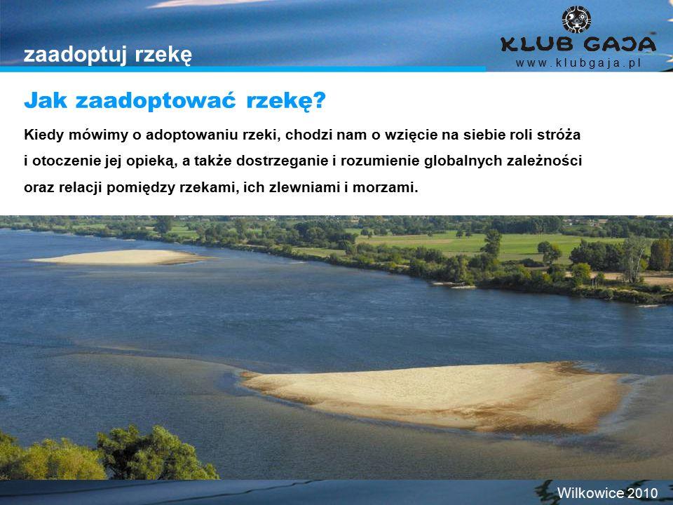 zaadoptuj rzekę Kiedy mówimy o adoptowaniu rzeki, chodzi nam o wzięcie na siebie roli stróża i otoczenie jej opieką, a także dostrzeganie i rozumienie globalnych zależności oraz relacji pomiędzy rzekami, ich zlewniami i morzami.