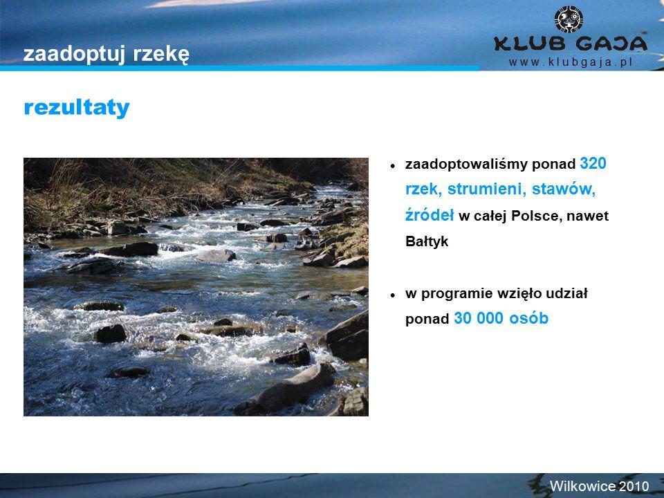 zaadoptuj rzekę zaadoptowaliśmy ponad 320 rzek, strumieni, stawów, źródeł w całej Polsce, nawet Bałtyk w programie wzięło udział ponad 30 000 osób rezultaty w w w.