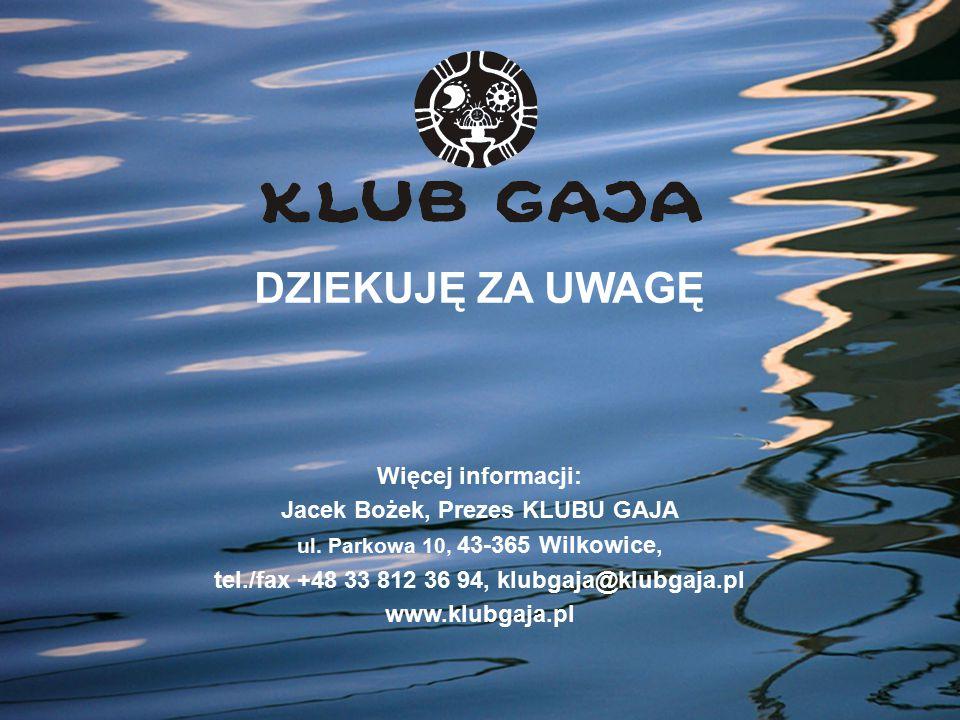 DZIEKUJĘ ZA UWAGĘ Więcej informacji: Jacek Bożek, Prezes KLUBU GAJA ul. Parkowa 10, 43-365 Wilkowice, tel./fax +48 33 812 36 94, klubgaja@klubgaja.pl