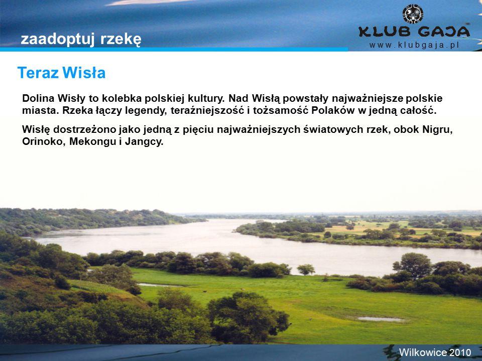 Teraz Wisła w w w. k l u b g a j a. p l Wilkowice 2010 zaadoptuj rzekę Dolina Wisły to kolebka polskiej kultury. Nad Wisłą powstały najważniejsze pols