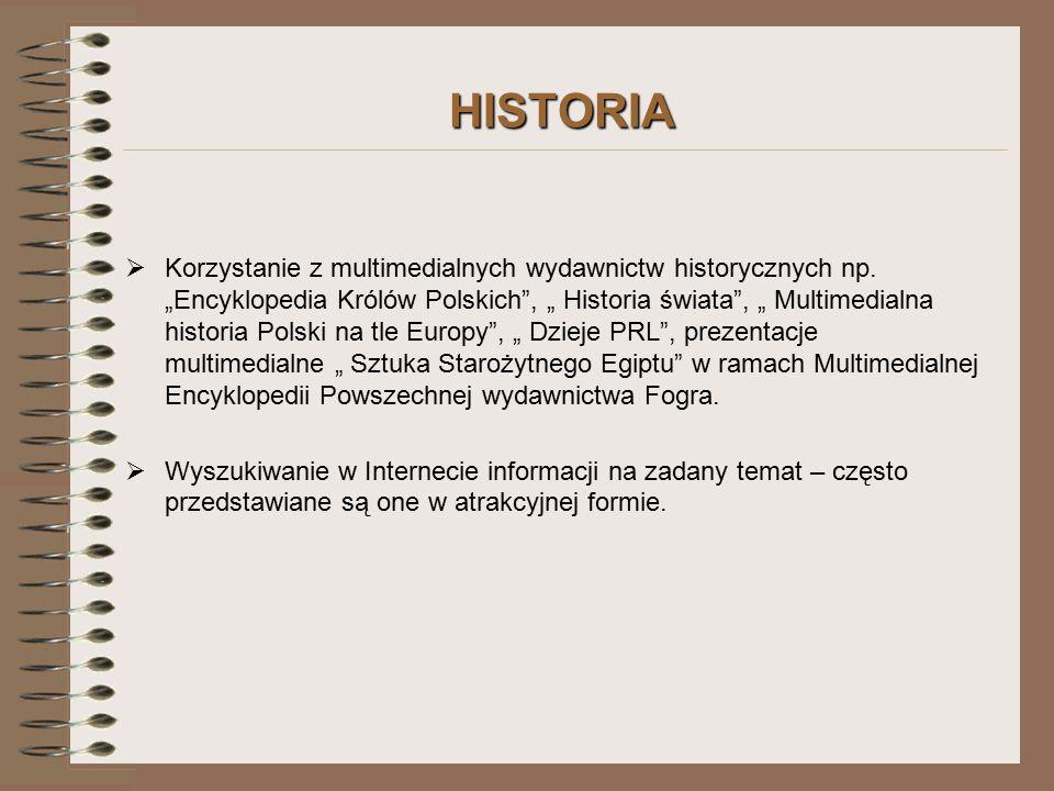 HISTORIA  Korzystanie z multimedialnych wydawnictw historycznych np.