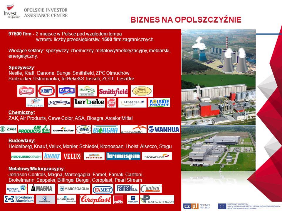 97500 firm - 2 miejsce w Polsce pod względem tempa wzrostu liczby przedsiębiorstw, 1500 firm zagranicznych Wiodące sektory: spożywczy, chemiczny, meta