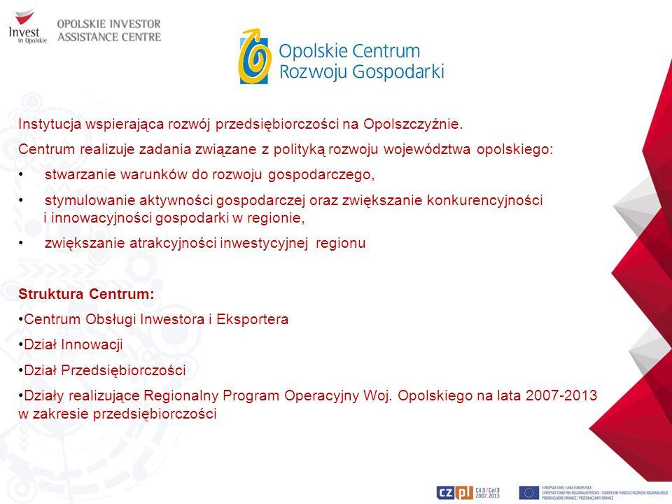 Instytucja wspierająca rozwój przedsiębiorczości na Opolszczyźnie. Centrum realizuje zadania związane z polityką rozwoju województwa opolskiego: stwar