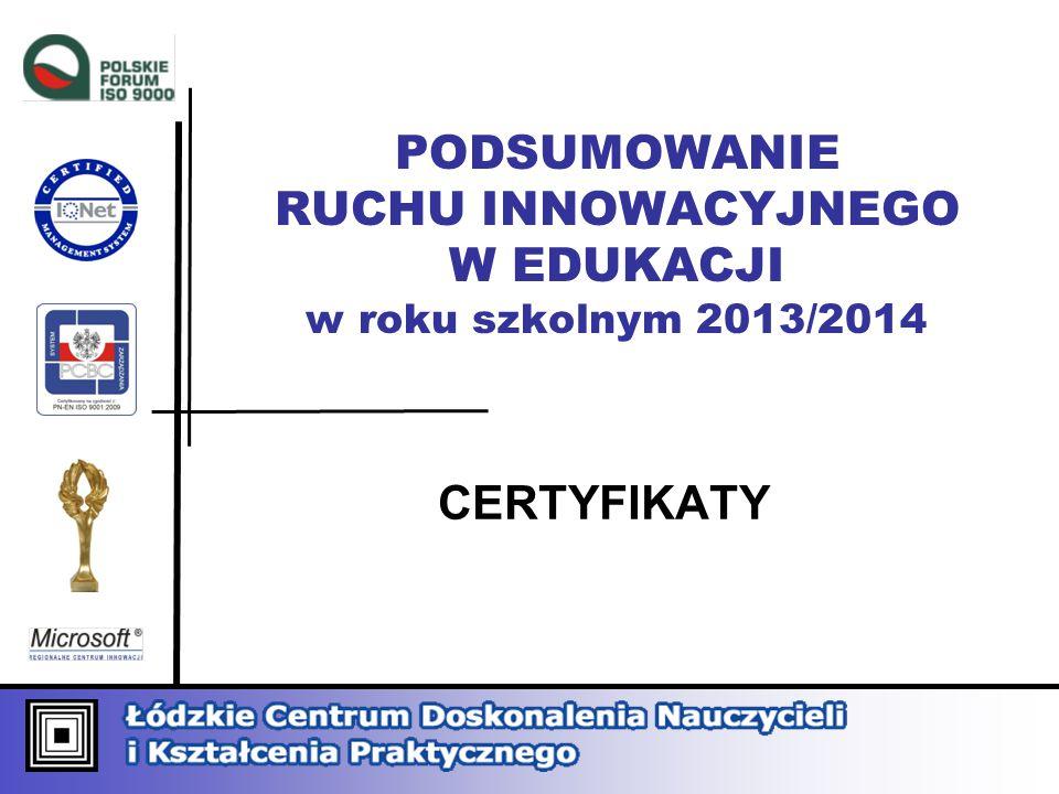 PODSUMOWANIE RUCHU INNOWACYJNEGO W EDUKACJI w roku szkolnym 2013/2014 CERTYFIKATY