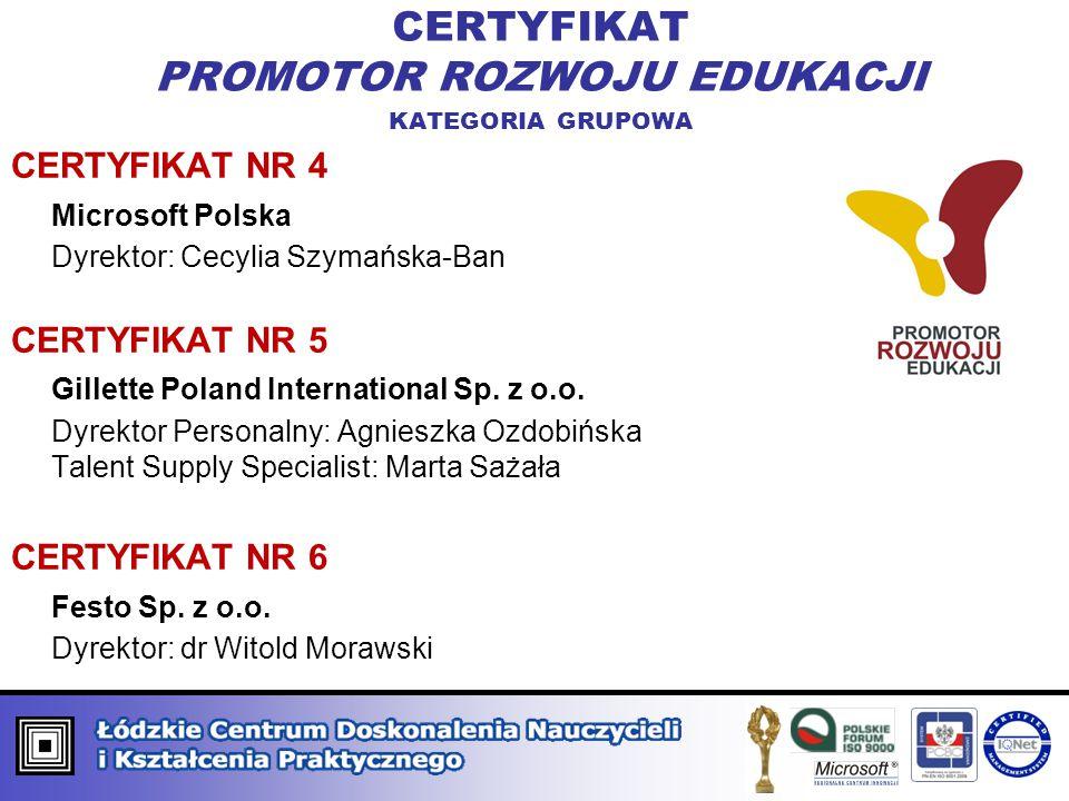 CERTYFIKAT NR 4 Microsoft Polska Dyrektor: Cecylia Szymańska-Ban CERTYFIKAT NR 5 Gillette Poland International Sp. z o.o. Dyrektor Personalny: Agniesz