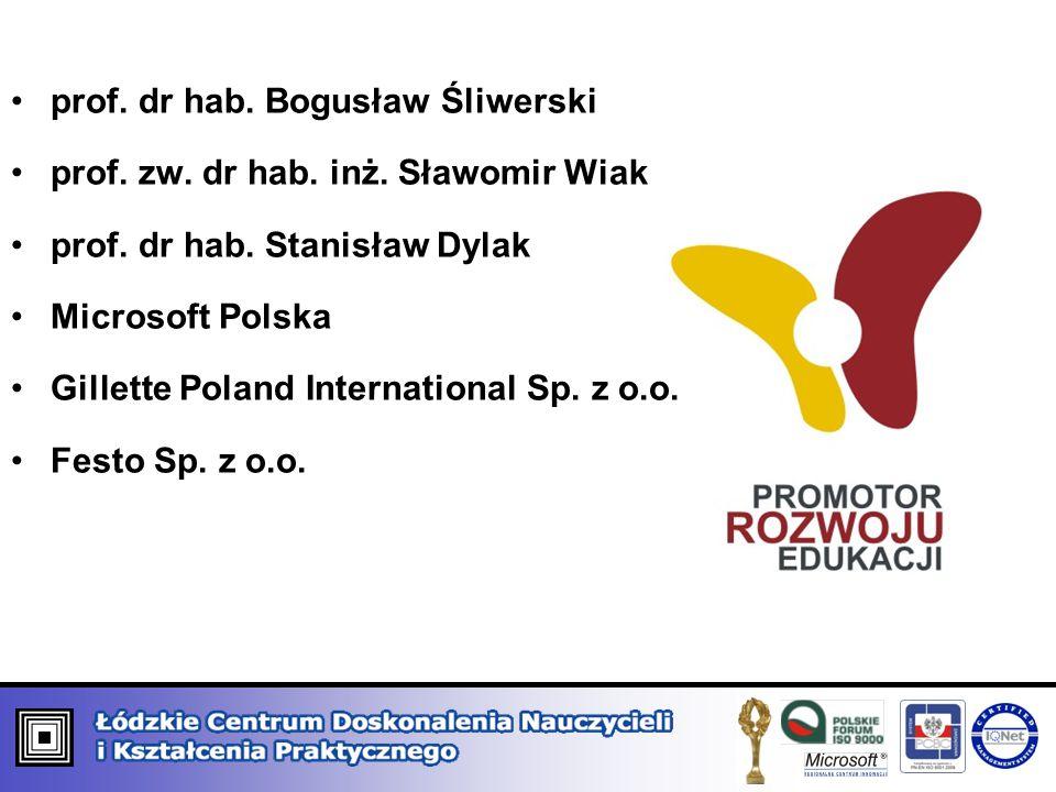 prof. dr hab. Bogusław Śliwerski prof. zw. dr hab. inż. Sławomir Wiak prof. dr hab. Stanisław Dylak Microsoft Polska Gillette Poland International Sp.