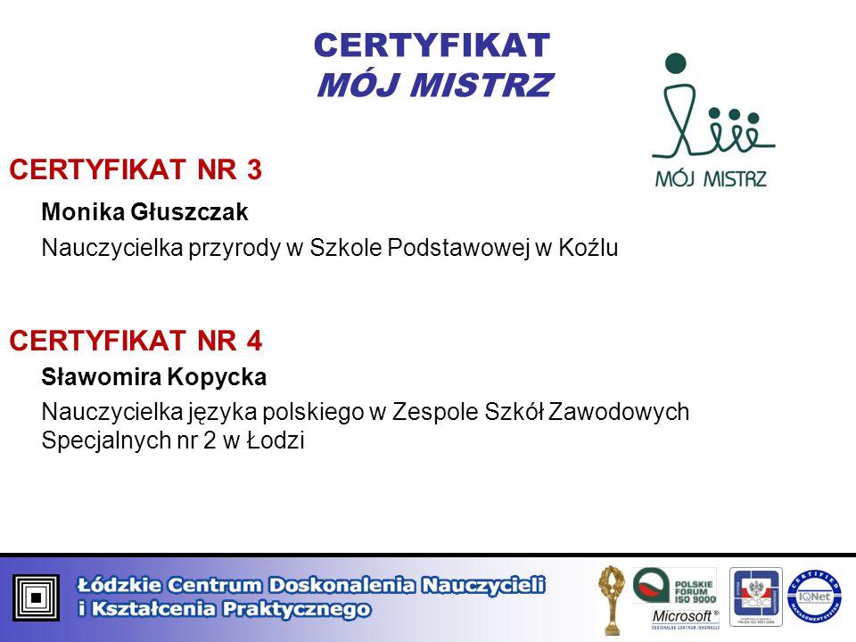 CERTYFIKAT MISTRZ PEDAGOGII CERTYFIKAT NR 3 prof.nadzw.