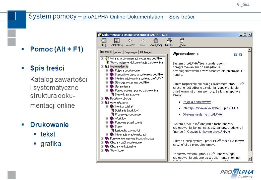 Academy System pomocy – proALPHA Online-Dokumentation – Spis treści  Pomoc (Alt + F1)  Spis treści Katalog zawartości i systematyczne struktura doku