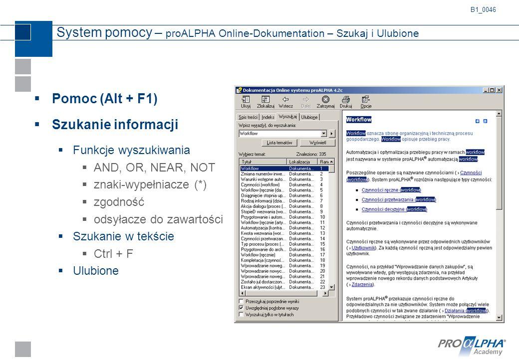 Academy System pomocy – proALPHA Online-Dokumentation – Szukaj i Ulubione  Pomoc (Alt + F1)  Szukanie informacji  Funkcje wyszukiwania  AND, OR, N