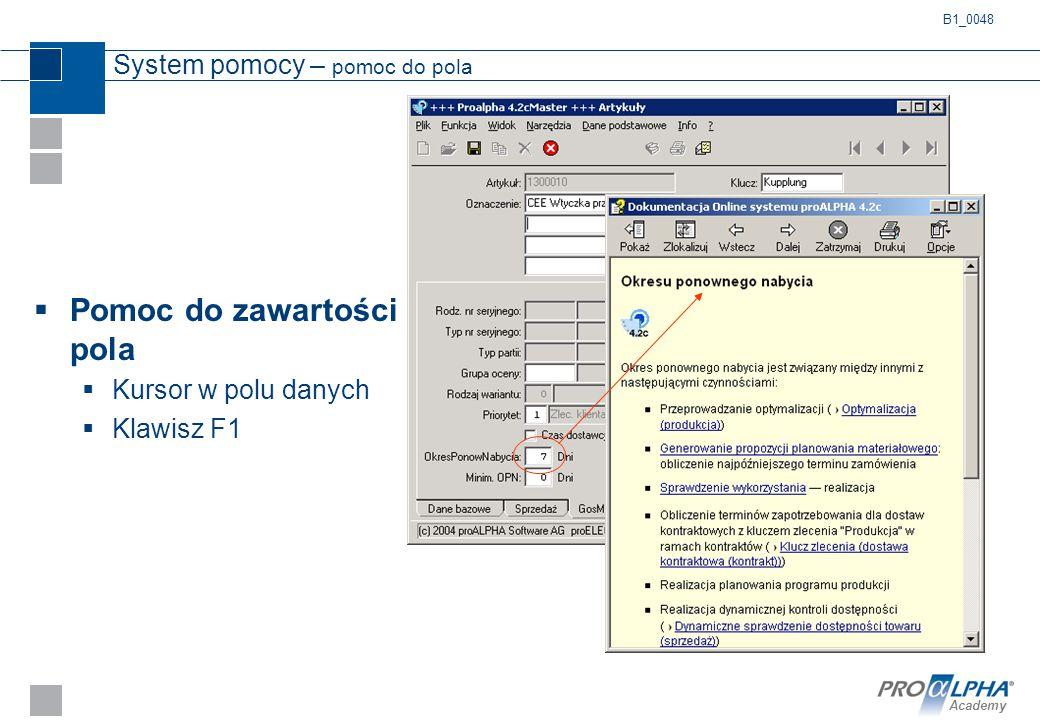 Academy System pomocy – pomoc do pola  Pomoc do zawartości pola  Kursor w polu danych  Klawisz F1 B1_0048