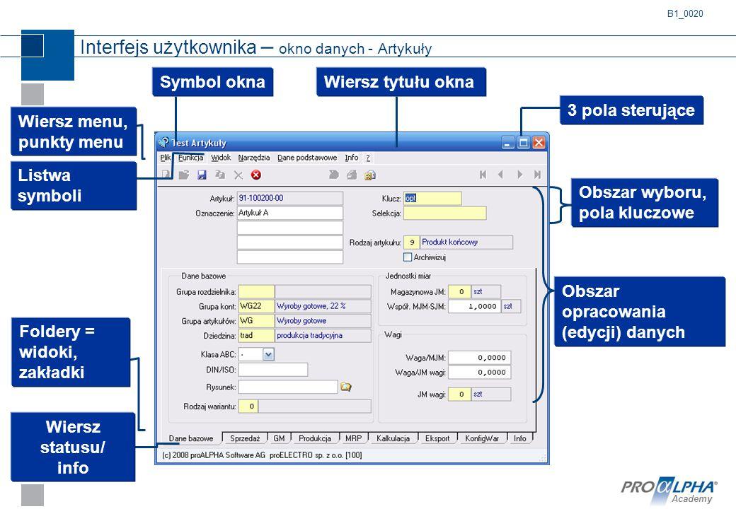 Academy Interfejs użytkownika – okno danych - Artykuły B1_0020 Wiersz menu, punkty menu Listwa symboli Wiersz tytułu okna Obszar opracowania (edycji)