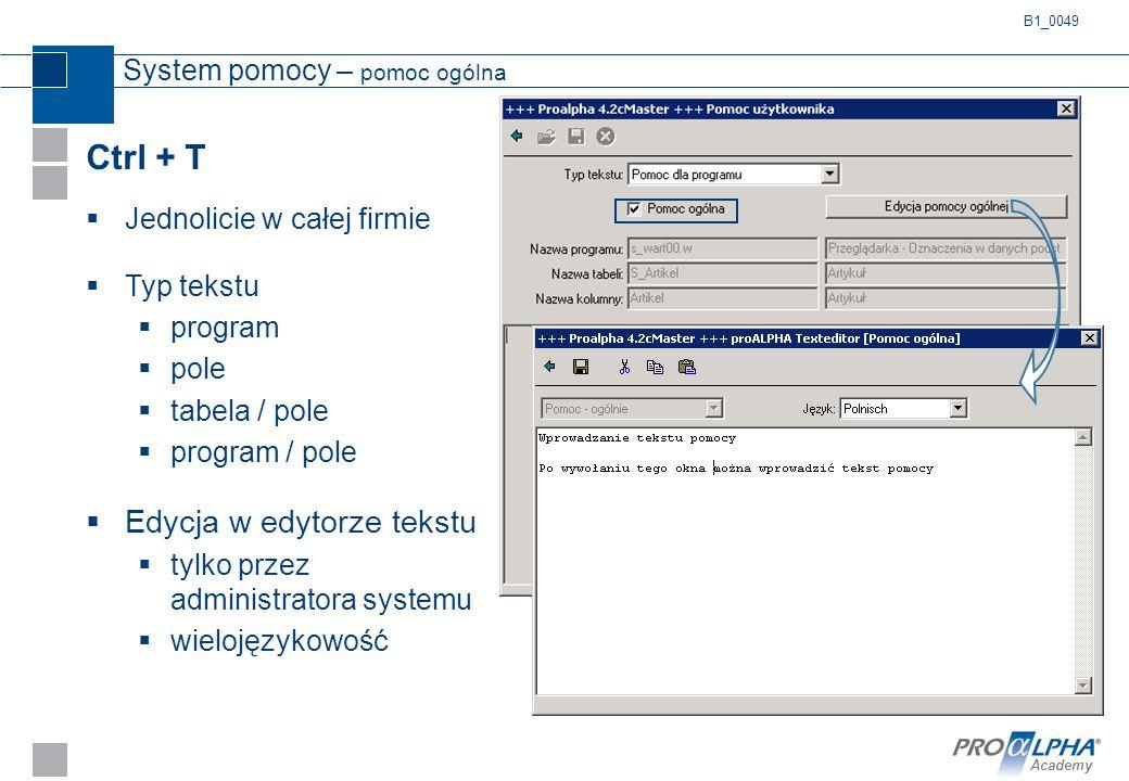 Academy System pomocy – pomoc ogólna Ctrl + T  Jednolicie w całej firmie  Typ tekstu  program  pole  tabela / pole  program / pole  Edycja w ed