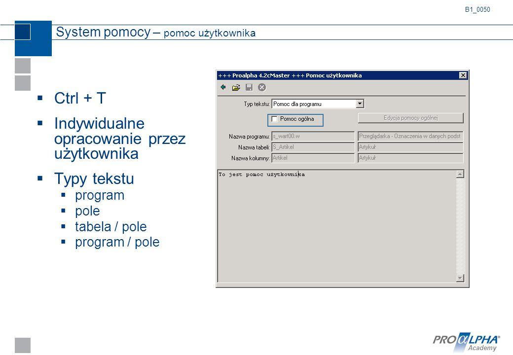 Academy System pomocy – pomoc użytkownika  Ctrl + T  Indywidualne opracowanie przez użytkownika  Typy tekstu  program  pole  tabela / pole  pro
