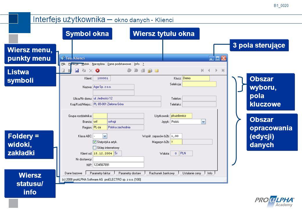 Academy Interfejs użytkownika – okno danych - Klienci B1_0020 Wiersz menu, punkty menu Listwa symboli Wiersz tytułu okna Obszar opracowania (edycji) d