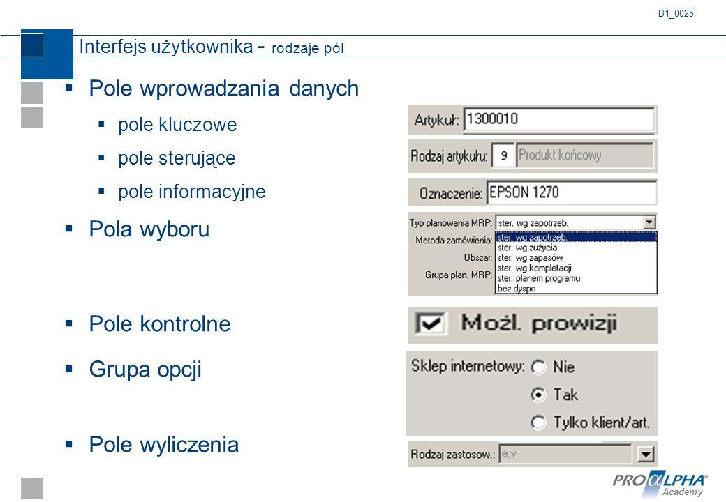 Academy Interfejs użytkownika - rodzaje pól  Pole wprowadzania danych  pole kluczowe  pole sterujące  pole informacyjne  Pola wyboru  Pole kontr