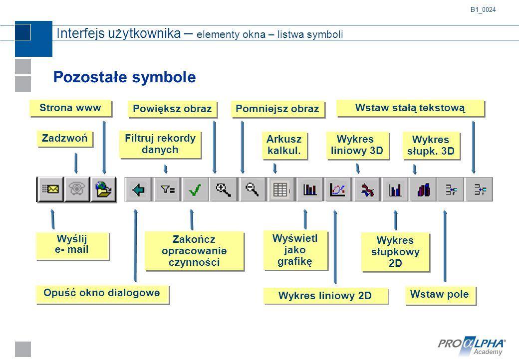 Academy Pozostałe symbole Interfejs użytkownika – elementy okna – listwa symboli Filtruj rekordy danych Wykres liniowy 3D Wyślij e- mail Opuść okno di