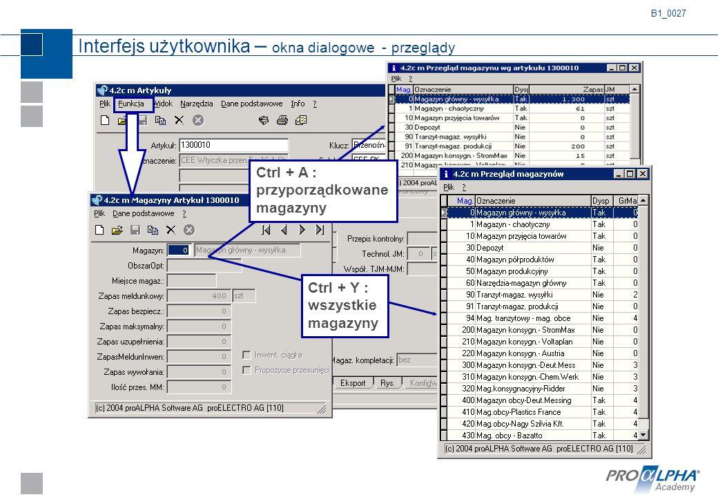 Academy Interfejs użytkownika – okna dialogowe - przeglądy B1_0027 Ctrl + Y : wszystkie magazyny Ctrl + A : przyporządkowane magazyny