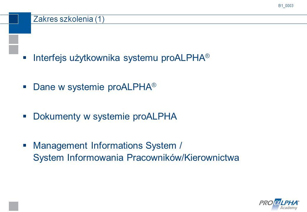 Academy Zakres szkolenia (1)  Interfejs użytkownika systemu proALPHA ®  Dane w systemie proALPHA ®  Dokumenty w systemie proALPHA  Management Info