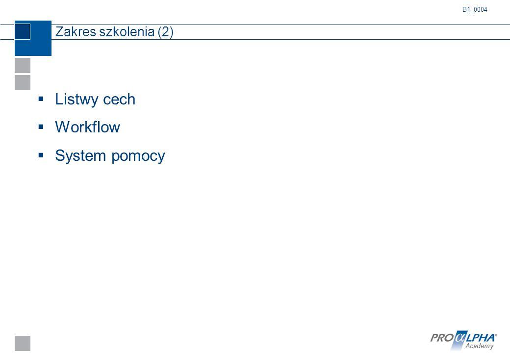 Academy Zakres szkolenia (2)  Listwy cech  Workflow  System pomocy B1_0004